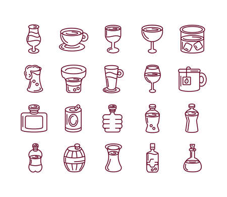 liquor drinks and beverages icon set over white background, line style, vector illustration