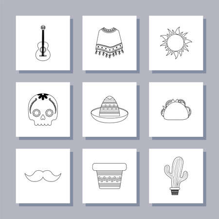 Mexican icon set design, Mexico culture tourism landmark latin and party theme Vector illustration