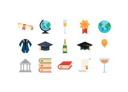 Graduation icon set design, University education school college academic ceremony degree and student theme Vector illustration
