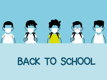 back to school, group of kids wearing face mask and social distancing vector illustration design