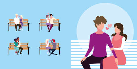 set of couples sitting in the park chair vector illustration design