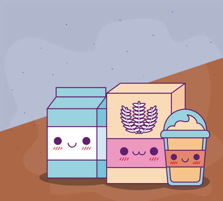 flour milk box and coffee mug design, Kawaii food cute character emoticon theme Vector illustration
