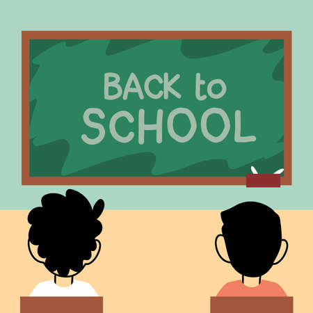 back to school, kids studying in classroom with face masks vector illustration design 일러스트