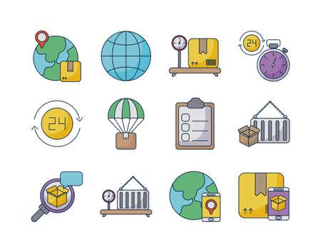 set of icons freight delivery logistics on white background vector illustration design Ilustração