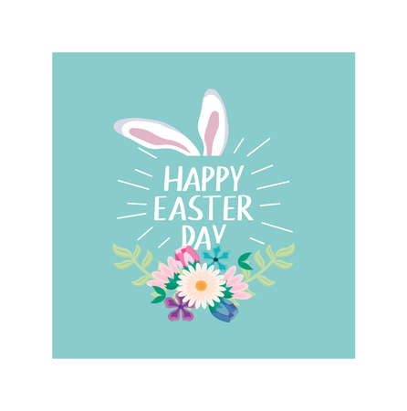 label happy easter day with easter eggs and rabbit ears vector illustration design