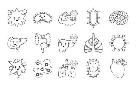 line style icon set design of human organs virus and medical care theme Vector illustration Ilustracja