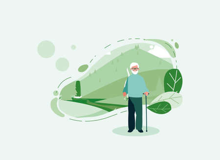 Grandfather in front of a landscape design, Old man male person father grandparents family senior and people theme Vector illustration