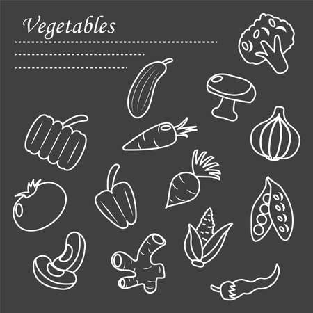 healthy vegetables icon set over black background, line style, vector illustration