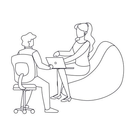 Woman and man sitting with laptop design, Person people human profile and user theme Vector illustration Illustration
