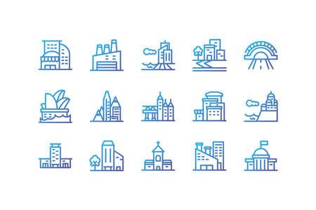 Buildings icon set design, City architecture urban modern downtown contemporary metropolis exterior and construction theme Vector illustration Çizim