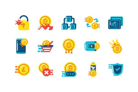 Icon set design of Cryptocurrency money currency exchange financial bank web internet market electronic finance and net theme Vector illustration Stock Illustratie