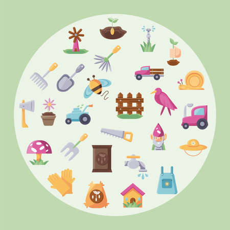 circle with colorful gardening icon set over green background, flat detail style, vector illustration