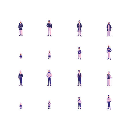 People avatars set with winter cloth design of Person social communication human user partnership member and figure theme Vector illustration