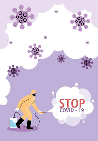 man with disinfection equipment stopping covid-19 vector illustration desing