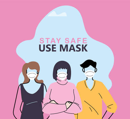 people using mask for safety and prevention vector illustration design