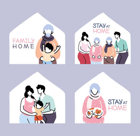 set of icons isolation and social distancing, stay home vector illustration design