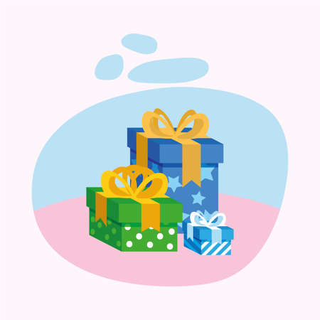gifts with bowties design, Box present holiday christmas shopping birthday celebration decoration and surprise theme Vector illustration  イラスト・ベクター素材