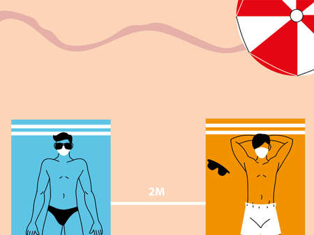 people lie on beach towels at distance, social distancing vector illustration design 矢量图像