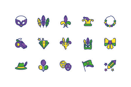 Mardi gras icon set design, Party carnival decoration celebration festival holiday fun new orleans and traditional theme Vector illustration Çizim
