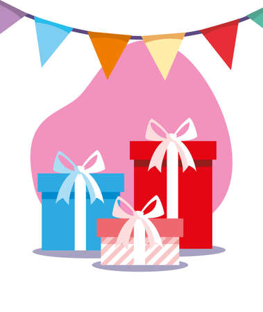 gifts with banner pennant design, Box present holiday christmas shopping birthday celebration decoration and surprise theme Vector illustration