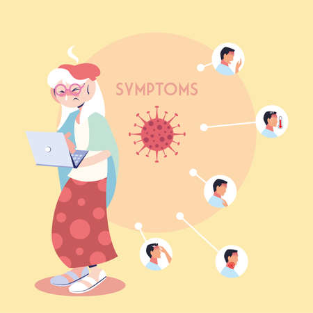 infographic showing incubation and symptoms with icons and infected person vector illustration design