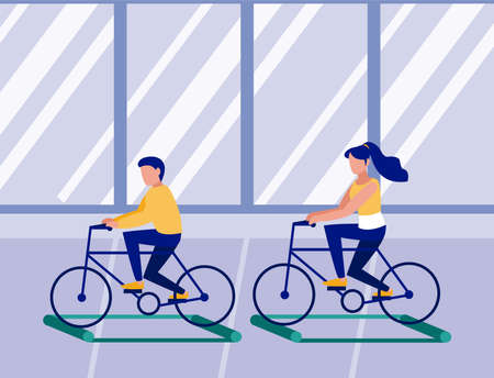 people on bicycle on training rollers, social distancing vector illustration design