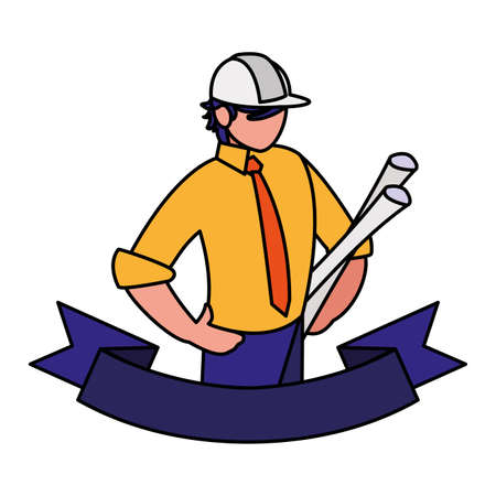 engineer man with work tools on white background vector illustration design