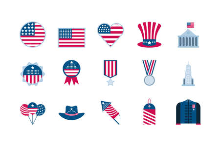 Usa icon set design, United states america independence labor day nation us country and national theme Vector illustration Çizim