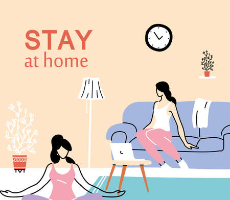 women young exercising at home vector illustration desing