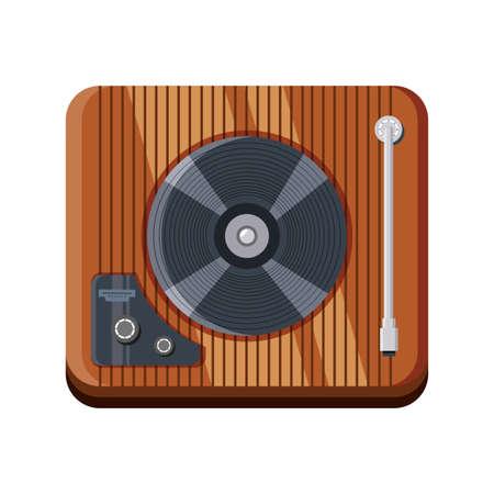 wooden turntable on white background vector illustration design Vecteurs