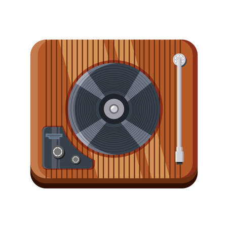 wooden turntable on white background vector illustration design