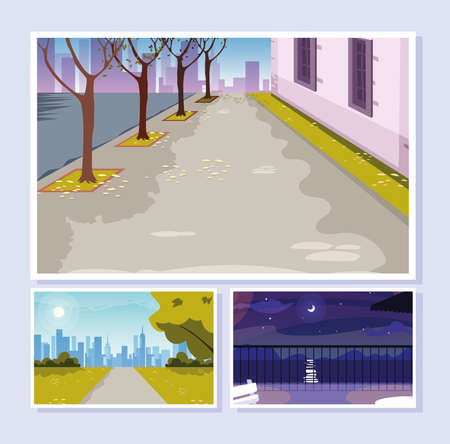 urban street scenes set of icons vector illustration design