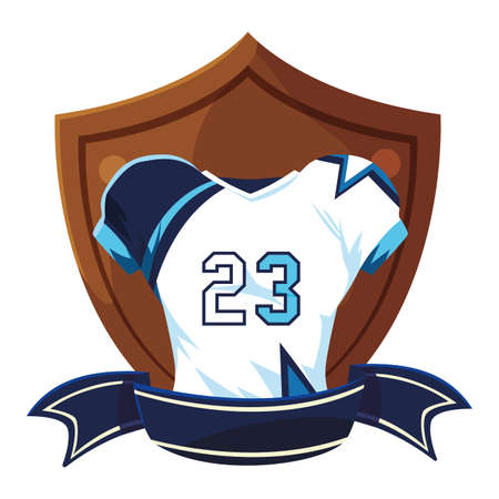 american football jersey on shield vector illustration design
