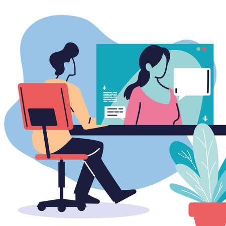 men communicating by video call vector illustration desing