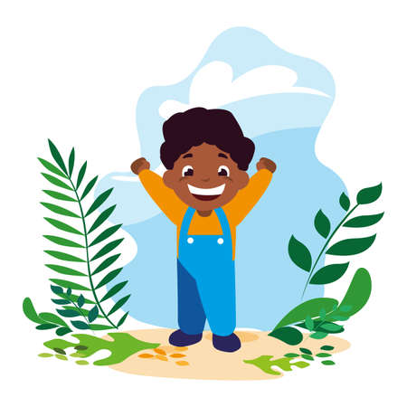 boy smiling and playing outdoors vector illustration design 일러스트
