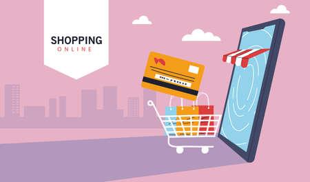 smartphone represent of front of shop store, shopping online, digital marketing vector illustration design Vector Illustratie
