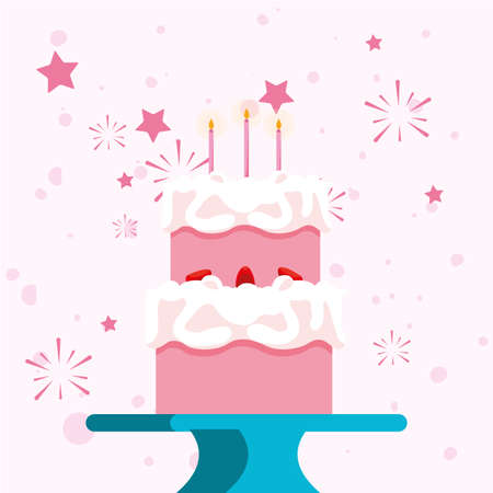 cake design, Happy birthday card celebration decoration surprise party anniversay and invitation theme Vector illustration
