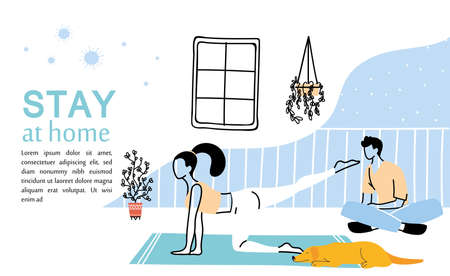 couple young exercising at home vector illustration desing