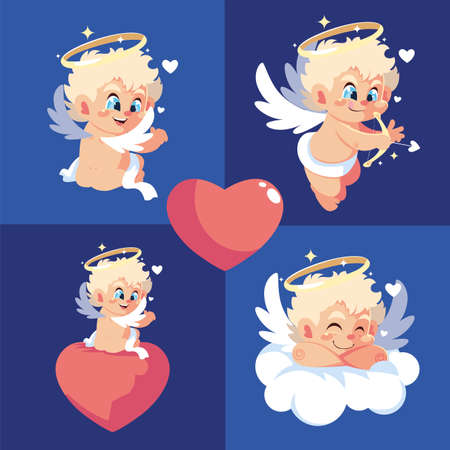 Blond cupids cartoons design of Happy valentines day love passion romantic wedding decoration and marriage theme Vector illustration