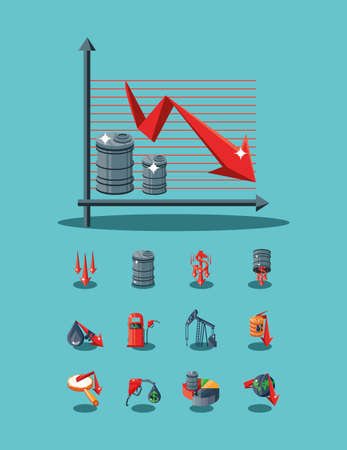 set of icons oil price, infographic vector illustration design