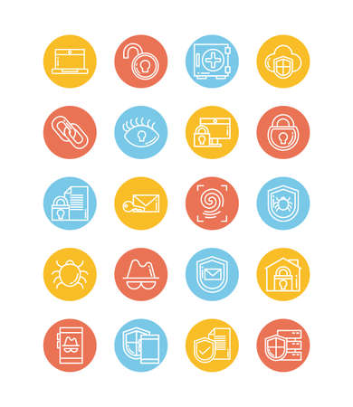 set of icons security, block and flat style icon vector illustration design Ilustrace