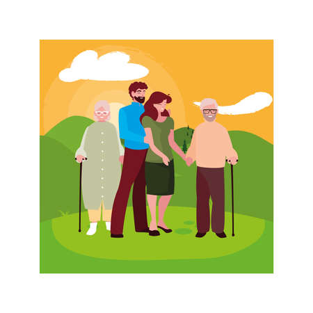 old couple and their adult children having fun together, two generations vector illustration design Vectores