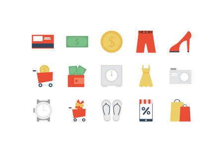 set of icon shopping, e-commerce on white background vector illustration design Ilustração