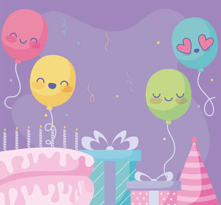Happy birthday design with cute balloons and gift boxes, birthday cake and party hat over purple background, vector illustration