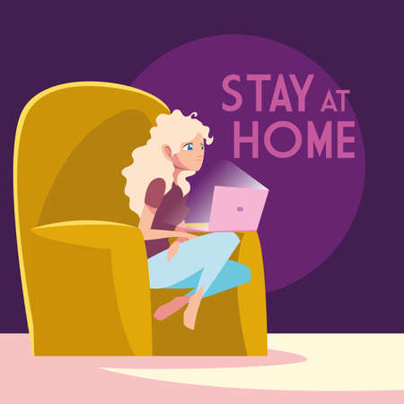 stay at home awareness social media campaign and coronavirus prevention: woman connecting with her laptop vector illustration design Stock Illustratie