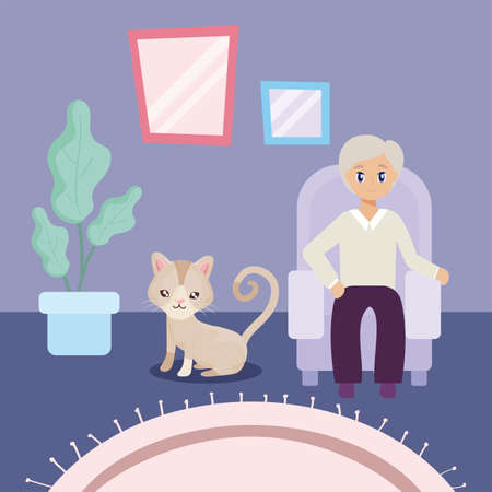 old man in the living room with a cat vector illustration design Vettoriali