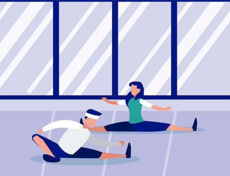 people out doing home workout vector illustration design