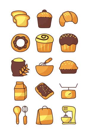 set of icons bakery on white background vector illustration design