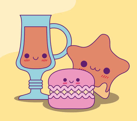 juice cup star and cookie design, Kawaii food cute character emoticon theme Vector illustration