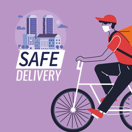 man courier with mask merchandise delivery location vector illustration desing 矢量图像